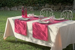 Mille Charmes Ecru de Blanc Tablecloth, 100% Cotton