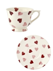 Pink Hearts Teacup  and  Saucer
