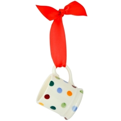 Polka Dot Tiny Mug Tree Decoration Boxed