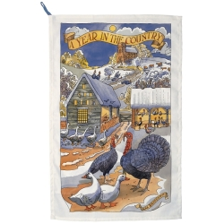 Year in the Country Winter Scene Tea Towel