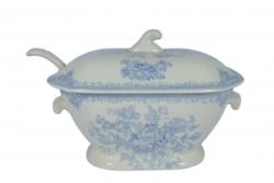 Blue Asiatic Pheasant Soup Tureen  and  Laddle