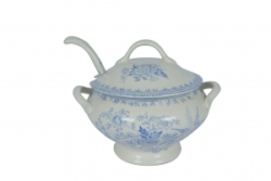 Blue Asiatic Pheasant Sauce Tureen and Ladle
