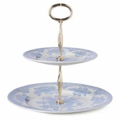 Blue Asiatic Pheasant Two Tiered Cake Stand Covered-on back order 8+ weeks