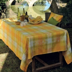 Mille Panache Canary Tablecloth , 100% Cotton or Coated Cotton