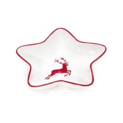 Ruby Red Deer Star Dish 5.5