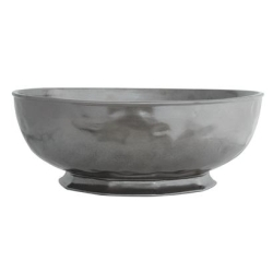 Pewter Stoneware Large Round Serving Bowl