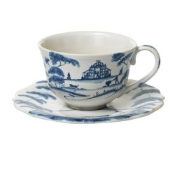 Country Estate Delft Blue Tea/Coffee Cup and Saucer Garden Follies