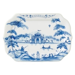 Country Estate Delft Blue Friendship Gift Tray Boathouse