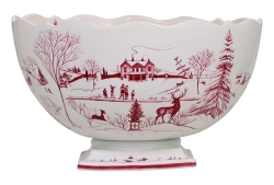 Country Estate Ruby Centerpiece Bowl Winter Frolic -Christmas Celebration
