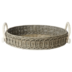 Waveney Wicker Grey Wash Round Tray