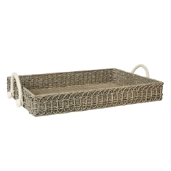 Waveney Wicker Grey Wash Rectangular Tray