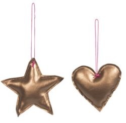 Star Heart Copper Ornament