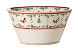 Winter Robin Large Angled Bowl