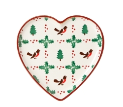 Winter Robin Heart Plate