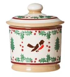 Winter Robin Lidded Sugar Bowl