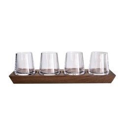 Ludlow Whisky Glass Set with Wood Frame