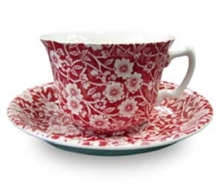 Red Calico Tea Cup  and  Saucer