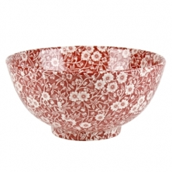 Red Calico Medium Footed Chinese Bowl