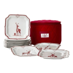 Country Estate Ruby Reindeer Games Ruby Party Plate set/12