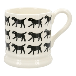 Spongeware Black Labrador Row 1/2 Pint Mug