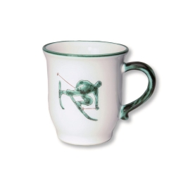 Toni the Skier Green Cocoa Mug  -Retired- 2 Available