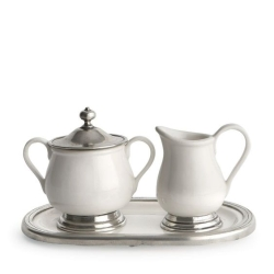 Retired  Tuscan Cream  and  Sugar Set w/tray