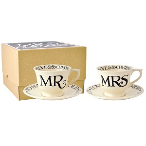 Black Toast Mr  and  Mrs Small Teacups  and  Saucers bxd