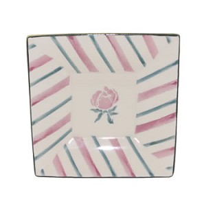 Pink Peony Small Square Plate