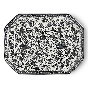 Black Regal Peacock Rectangular Dish