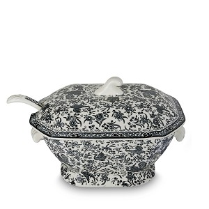 Black Regal Peacock Soup Tureen & Ladle - Sold out, Order for 2019 Delivery