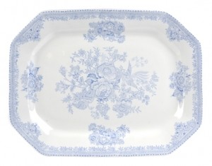Blue Asiatic Pheasant Rectangular Large Platter