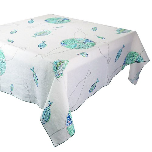 Mille Poissons Maree Tablecloth, Linen and Cotton