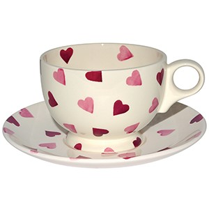 Pink Hearts Breakfast Cup & Saucer-Retired