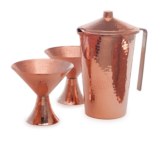 Sertodo Satini Set for Two, Copper Martini cups /Gangotri Pitcher