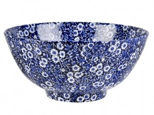Blue Calico Footed Chinese Bowl Large