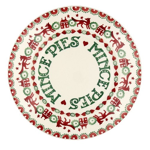 "Christmas Joy Red & Green Mince Pie 8 1/2"" Plate"