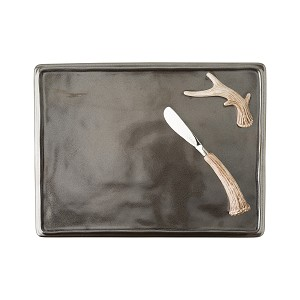 Forest Pewter Serving Board + 2 spreaders