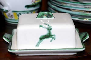 Green Deer (Stag) Classic Butter Dish-Retired Shape