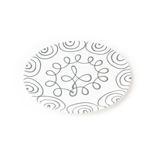 Dizzy Grey Coupe Cake Plate 12.6""