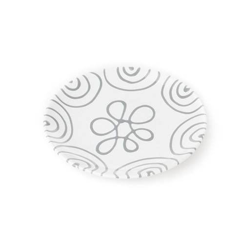 Dizzy Grey Coupe Dessert Plate 7.9""