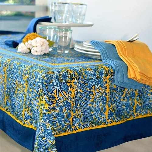 Bougainvilliea Tablecloth Yellow and Blue 71' x 71'