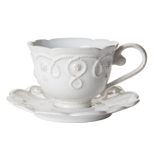 Jardins du Monde Whitewash Tea Cup and Saucer