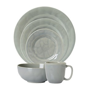 Puro Mist Grey Crackle 4pc Place Setting