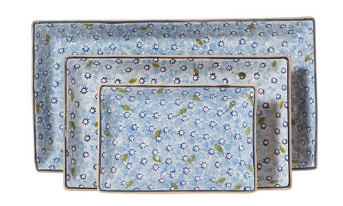 Light Blue Lawn Rectangular Dish Set/3