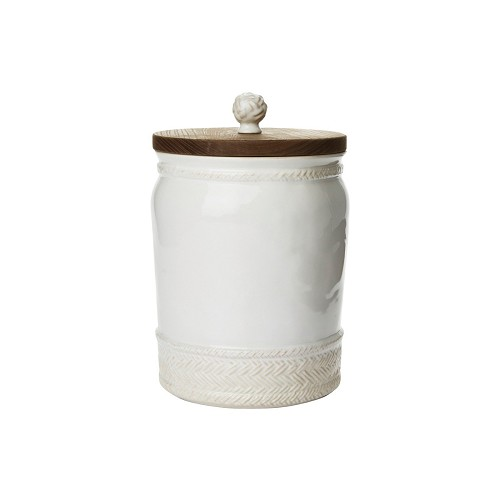 "Le Panier Whitewash 10"" Canister with Wooden Lid-RETIRED- 1 in stock"