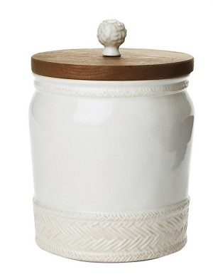 "Le Panier Whitewash 7.5"" Canister with Wooden Lid"
