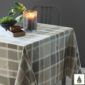 Mille Ladies Argile Tablecloth , 100% Cotton and Coated