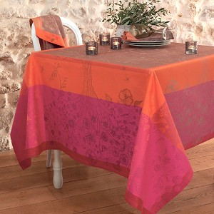"Poetree Fuchsia Green Sweet Stain-Resistant Cotton Tablecloth 69"" X 69"" RETIRED"