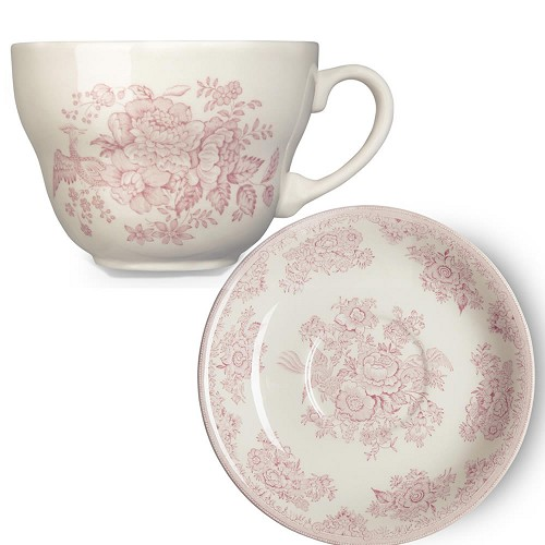 Pink Asiatic Pheasant Breakfast Cup  and  Saucer