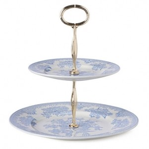 Blue Asiatic Pheasant Two Tiered Cake Stand
